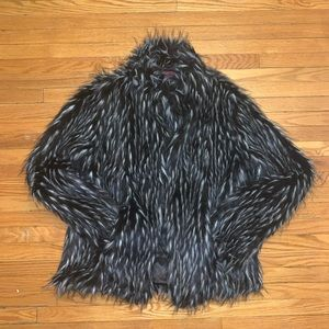 Black & White Faux Fur Coat